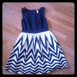 Xhilaration Blue and White Dress